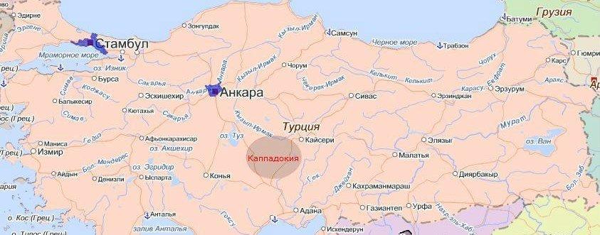 на карте Турции