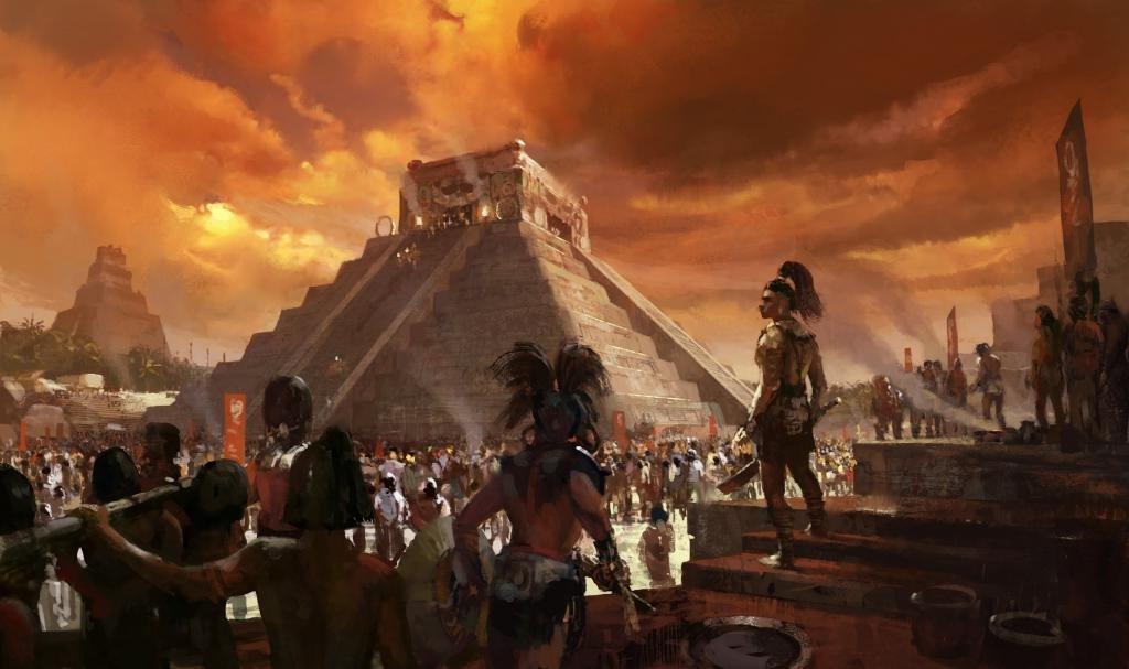 Индейцы на фоне пирамиды