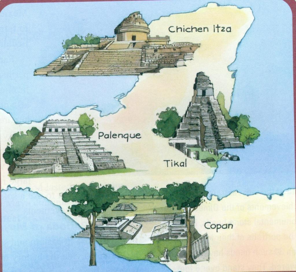 поселения Майя на карте